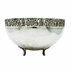 Bowl de Prata c/Borda Rendada c/Pé 27cm