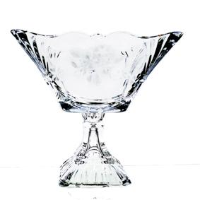 Fruteira Cristal Quadrada Flores com Pé