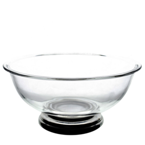 Saladeira de Vidro Redonda Funda Pé Inox 2L