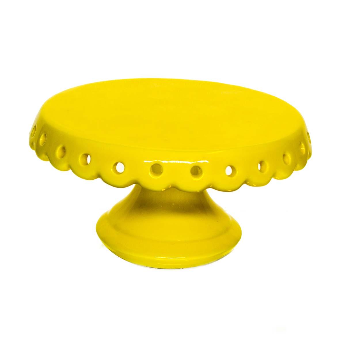 Porta Doce Cerâmica Amarelo 20x12