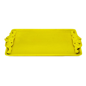 Travessa Retangular Cerâmica Amarelo 35x17,5x2