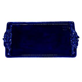 Travessa Retangular Cerâmica Azul 35x17,5x2