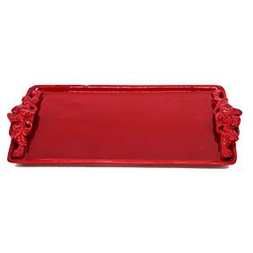 Travessa Retangular Cerâmica Vermelho 35x17,5x2