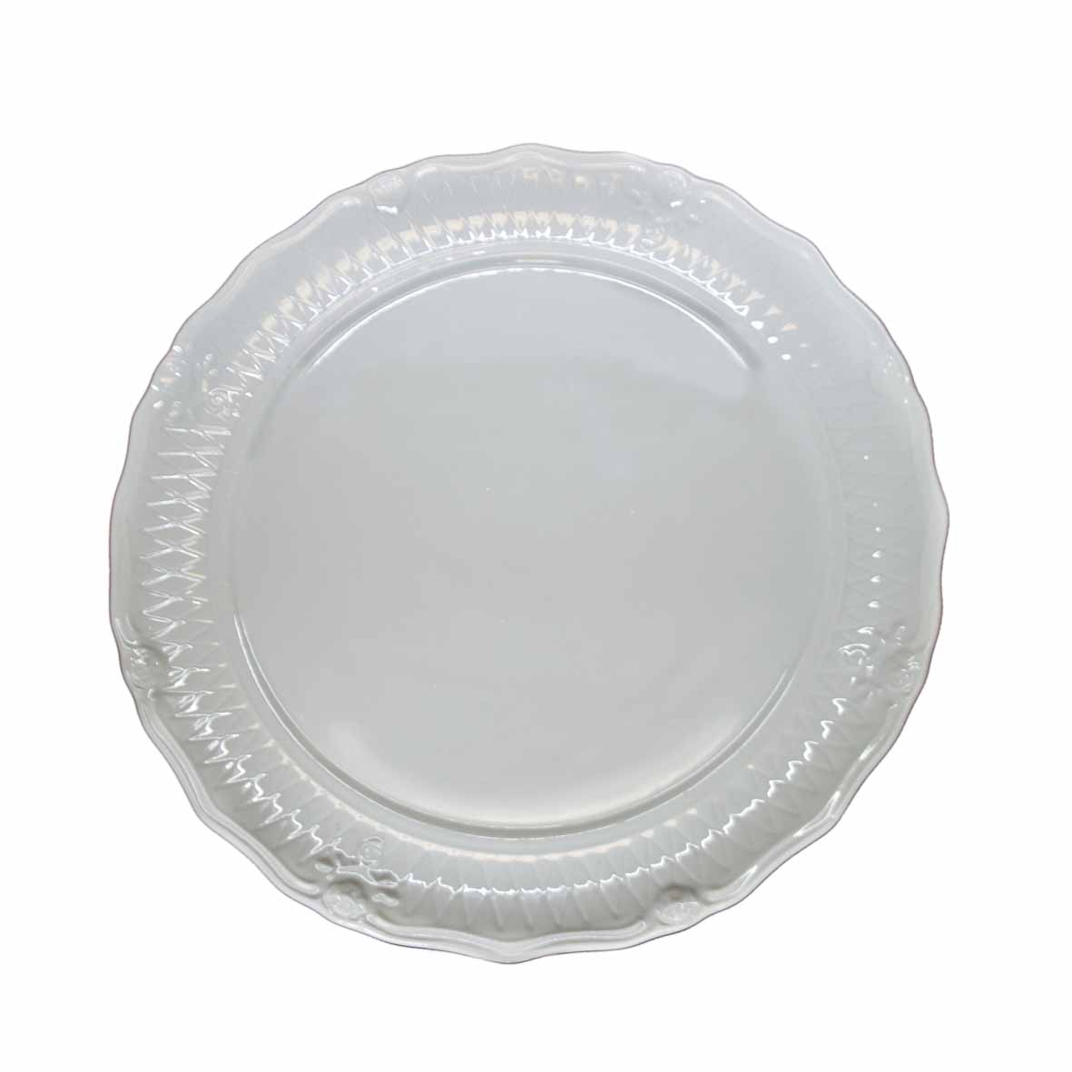 Travessa de Porcelana Redonda Rasa Borda Flor 48x4