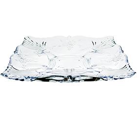 Prato de Vidro Quadrado Flor 30x30x15