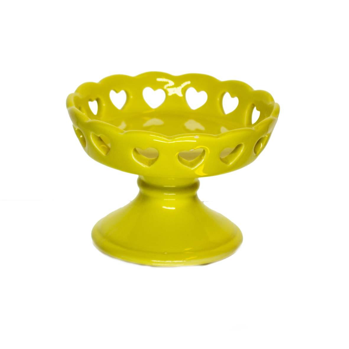 Porta Cupcake de Cerâmica Amarelo c/Coração