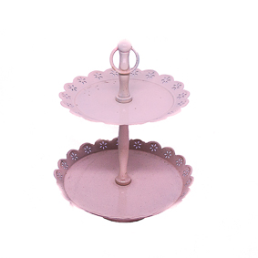Porta Doce de Metal 2 Andares Borda Rendada Rosa 18x23cm
