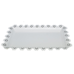 Bandeja de Metal Retangular Borda Rendada Branca 40x24cm
