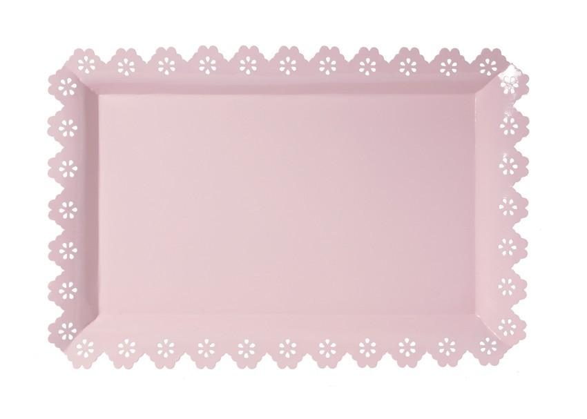 Bandeja de Metal Retangular Borda Rendada Rosa 40x24cm