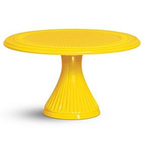Porta Bolo de Porcelana Redondo Amarelo 30x17