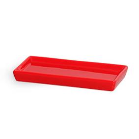 Travessa de Porcelana Retangular Lisa Vermelha 26x13x3