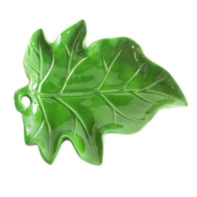 Prato de Cerâmica Folha Verde M