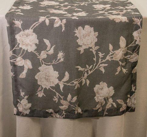 Trilho Linho Cinza Floral Rosê 380x60